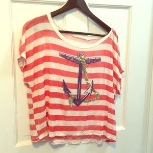 Red and white Anchor T-shirt